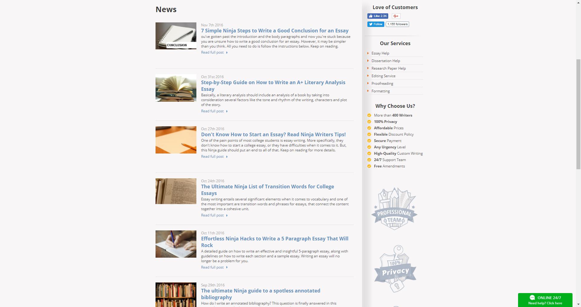 Ninjaessays Blog Page