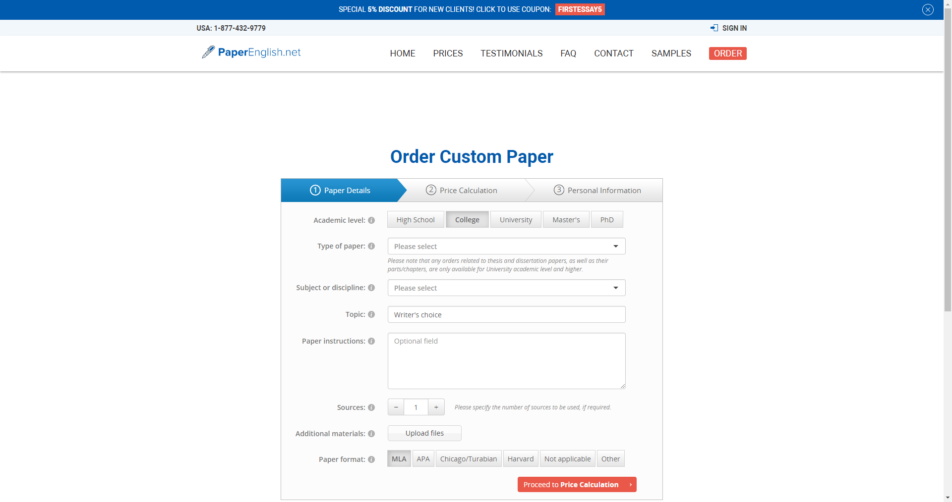 Paperenglish Order Form
